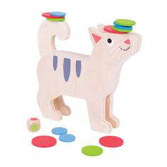 This wooden stacking game helps to develop dexterity and co-ordination. Each player takes it in turns to roll the dice and then places a counter onto the cat according to the dice e.g. if a blue cat tail is rolled, the player must place a blue counter onto the cat's tail. The game continues for as long as you can without the stack of counters failing over. The winner is the first person who places all of their available counters onto the cat without the counters falling off!