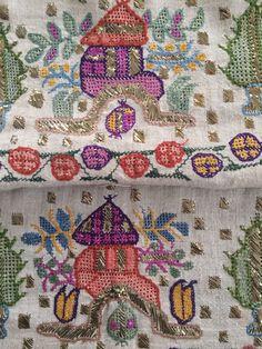 Antique Ottoman-Turkish Silk & Gold Metallic Hand Embroidery On Linen W Tomb 6