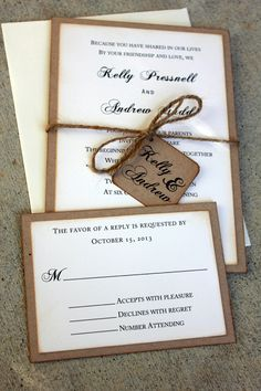 Rustic Wedding Invitation Set, Rustic Wedding, Vintage Wedding, Rustic and Kraft Wedding Invitations, Shabby Chic Wedding Invitations. $4.00, via Etsy.