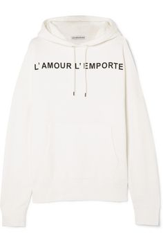 White and black cotton-blend jersey Slips on cotton, Lyocell Machine wash Sweatpants Outfit, Sweatshirt Outfit, Raf Simmons, Stella Mccartney Sneakers, Hoodies, Sweatshirts, Who What Wear, Black Cotton, Printed Cotton
