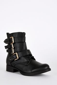 Strap Buckle Lace Up Detail Biker Boots