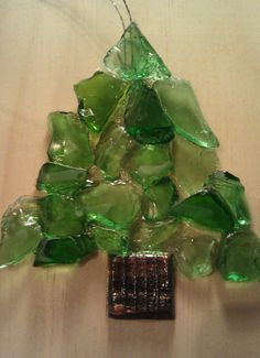 beach glass trees, fused glass
