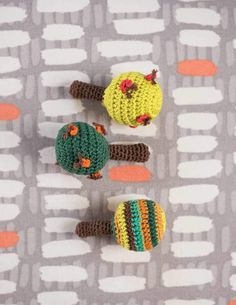 If you think you've seen everything, take a look at these crochet baby rattles - they look like little trees!