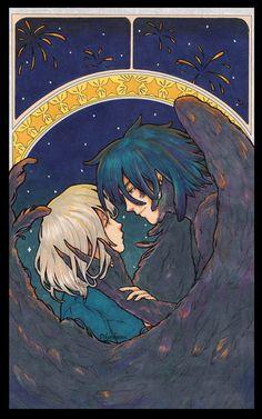 'Starry Sky - Howl and Sophie' Canvas Print by pikuchwan Studio Ghibli Art, Studio Ghibli Movies, Totoro, Personajes Studio Ghibli, Howl And Sophie, Japon Illustration, Castle Illustration, Animes Wallpapers, Aesthetic Anime
