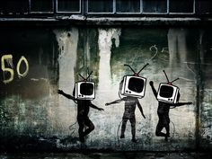 """A great poster of street art graffiti by the enigmatic Banksy! """"Television Head Dance"""" is one of his best. Check out the rest of our awesome selection of Banksy posters! Banksy Graffiti, Banksy Work, Banksy Canvas, Urban Graffiti, Bansky, Street Art Graffiti, Banksy Posters, Banksy Prints, Graffiti Images"""