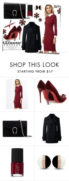 """""""• Burgundy Dress The Glamour Edition •"""" by fashion-fields-forever ❤ liked on Polyvore featuring Christian Louboutin, Gucci, Lands' End and NARS Cosmetics"""