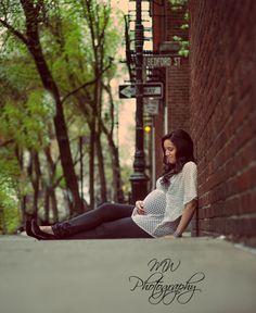 maternity shoot brick wall