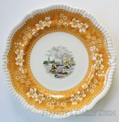 Rare 2 Color Transferware Yellow & Black Spode Copeland (circa 1920-30) Spode Copeland Dinner or Charger Plate Hand painted Plate depicts a European lacustrine scene with small rowboats, sailboats and