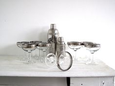 vintage set of champagne glasses -  :: include 12 cocktail bar glasses :: silver detailing on rim :: great classic Art Deco style glass set ::