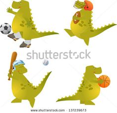Play Ball Dino - Vector set of four cute dinosaurs playing sports. Eps10 by bilha golan, via Shutterstock