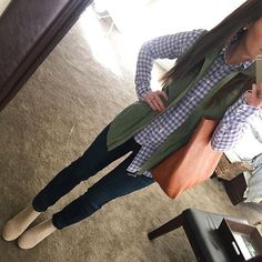 Ankle boots, booties, skinny jeans, gingham, military vest