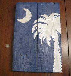 Another Plank Palmetto Moon « | fish shack design | Palmetto Moon, Palmetto State, Carolina Pride, Carolina Beach, South Carolina Flag, Carolina Girls, Cute Crafts, Diy Crafts, Rustic Crafts