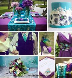 Wedding colors.  Think turquoise and royal purple.  Or peacock colors minus the feathers.