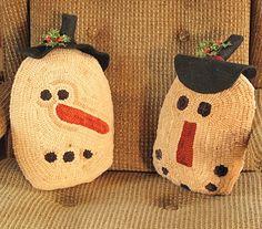 snowman pillows #rug hooking