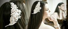 Bespoke Headdress Lace effect hair vine fresh water pearls & Swarovski crystals (£135)