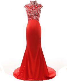 Changjie Women's Trailing High Neck Bead Evening Dresses Prom Gown Size 14 Red. High Neck,Cap Sleeve,Crystal Bead Corset Bodice,Mermaid Shape. Built-in Bra,Full Lined in Fish Bone. Dress Size:Please check Amazon's Size US size,custom size also available. Expedited delivery also offer,if u need it urgent,please message us before order. Dress Style:Prom Ball Dresses,Formal Evening Gown,Celebrity Pageant Dresses,Mother Formral Evening Dress.