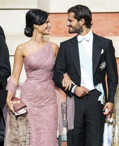 Sofia Hellqvist  & HRH Prince Carl Philipp of Sweden attending the wedding of Gustaf Magnusson & Vicky Andren at Ulrikedalsvägen Palace Chapel, Sweden in late August 2013