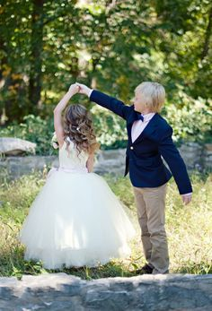 Flower girl and ring bearer. Too cute!