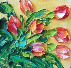 i love this technique, a 3d effect ------ Oil Painting Impasto Orange and White Tulips by IronsideImpastos
