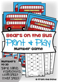 Bears on the Bus - Math Games / Centers & Worksheets Play Number, Number Games, Math Games, Maths, Math Addition, Addition And Subtraction, Math Counters, Bears Preschool, Subtraction Games