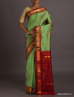 Keerti Pale Green With Deep Red Contrast Border Pallu #NarayanpetSilkSaree