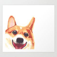 Peek-a-Boo Corgi Art Print by Ten Wendlandt - $16.00