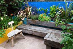 Earth Designs Garden design and build services cover London and Essex, specialising in courtyard and urban garden design Urban Garden Design, Garden Seating, Outdoor Seating, Outdoor Decor, Mexican Garden, Balcony Planters, House Ideas, Earth Design, Blue Garden