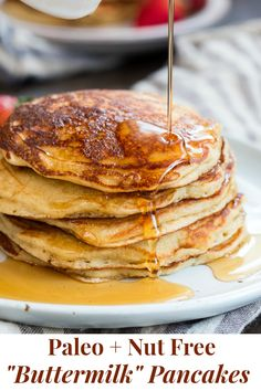 These fluffy paleo buttermilk pancakes are the perfect healthy answer to your pancake cravings! They come together quickly and are a hit with kids and adults alike. Grain free, nut free, dairy free and even freezable, which makes them great for breakfast Nut Free, Grain Free, Dairy Free, Paleo Dessert, Paleo Sweets, Paleo Breakfast, Breakfast Recipes, Balanced Breakfast, Healthy Brunch