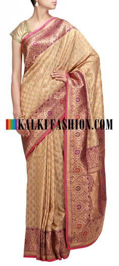 Buy Online from the link below. We ship worldwide (Free Shipping over US$100) http://www.kalkifashion.com/beige-saree-with-banarasi-border-8835.html Beige saree with banarasi border