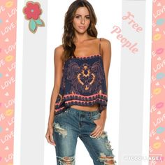 FREE PEOPLE print scarf Cami NWT size Med JUST IN FREE PEOPLE print scarf camisole NWT size medium. Great for spring or summer with shorts or jeans. Full description in last photo.  Free People Tops Camisoles