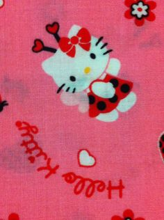 Hello Kitty Ladybug Toss Hot Pink Cotton Fabric - FQ /Bundles/Sewing Craft Supplies /Suiting fabric/ Quilting - pinned by pin4etsy.com