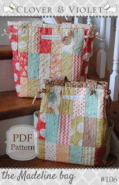 pdf sewing pattern This lovely diaper bag is all sweetness and charm (charm squares that is). It features a lovely quilted front and back and a side gusset out of a coordinating fabric. Th...
