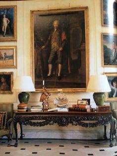 Georgian Interiors, House Interiors, English Interior, English Manor,  Ireland, Checkerboard Floor, Ceramic Lamps, House Floor, The Irish