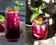 I just like the idea of red or purple iced  drinks in jars with mint and flowers