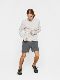 Midweight long sleeve with a mock neck. Your year-round hiking buddy.