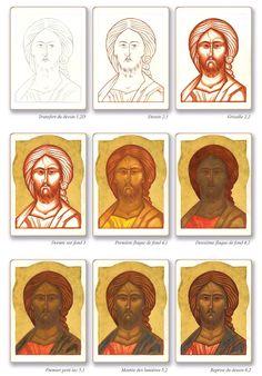 Byzantine Icons, Byzantine Art, Religious Icons, Religious Art, Painting Process, Painting & Drawing, Arte Do Galo, Writing Icon, Paint Icon