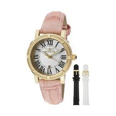 Invicta Women's 13968 Wildflower Gold-Tone Stainless Steel Watch with... ($69) ❤ liked on Polyvore featuring jewelry, watches, invicta, invicta wrist watch, dial watches, bezel watches and crown jewelry