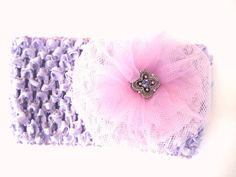 Pink and Purple Hair Bow  Tulle with Jeweled Center by TooTooKute