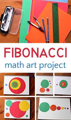 Fibonacci Math Art Project Cool fibonacci art project for exploring the intersection between math and art, and the golden spiral. Art Lessons Elementary, Lessons For Kids, Art Education Projects, Art Projects, Arte Elemental, Classe D'art, Math Art, Homeschool Math, Preschool Art