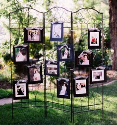 Mural wall of photos - cute display of engagement pictures :)