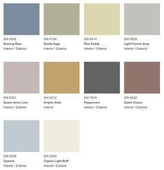 """Purely Refined"" interior paint palette with blue, gray, & taupe colors from Sherwin-Williams."