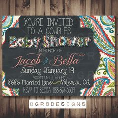 COUPLES Baby Shower Invitation - paisley - PRINTABLE - Boy or Girl baby shower invite (custom made for your shower!) PRINTABLE digital diy