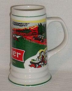 """www.jaedasplaythings.com Old Style Pilsner Beer Stein Mug Vtg 6.5"""" White Rabbit Biere Advertising"""