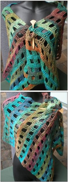 Noro Stole - *Inspiration* or you can buy the pattern through the attached link. It looks like you would just ch a ch row as long as you want the stole to be. You need to end up with a dc row that has a number of stitches that is a multiple of 6 + 3. You will dc the first row to the end, ch 4 (counts as first tr), turn, tr in first 2 dc, *ch 3, sk next 3 dc, tr in next 3 dc* repeat from * to * across. 3rd row and ea odd number row will be all dc (dc in ea tr and 3 dc in ch 3). Use a thick…