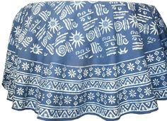 Beautiful Indigo print round table cover in geometric motifs and wide border on cotton.