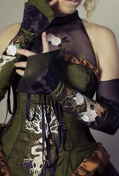Steampunk Gauntlets Arm Corset Pieces with Embroidered Detail