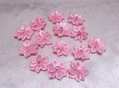 Aufnäher,Blüten, mit Strass, Rosa, 14 Stück, ca. 2,5cm