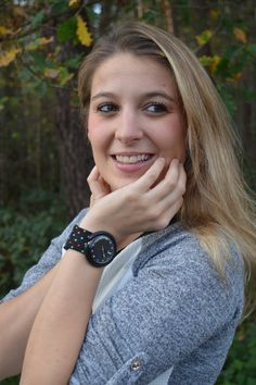 Girl with pop swatch watch