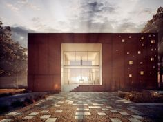 moderne Architektur Haus Fassade  Beleuchtung Gartenweg