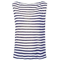ALEXANDER WANG T Stripe Rayon Linen Boatneck Sleeveless Tee Navy and... ($42) ❤ liked on Polyvore featuring tops, shirts, tank tops, t-shirts, lyhythihat, stripe top, muscle t shirts, striped shirt, striped top and rayon tops